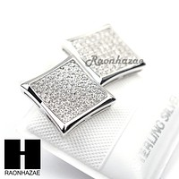 Iced Out Sterling Silver .925 Lab Diamond 12mm Square Screw Back Earring SE014S