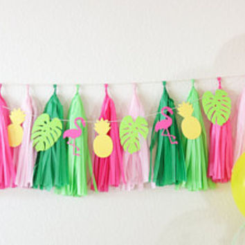 Tropical Banner, Flamingo banner, Tropical Party, Luau Party,Hawaiian Party, Pineapple Party,Moana party decor