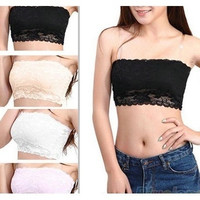 Hot selling Women's Sexy Lace Casual Crop Boob Tube Top Bandeau Bra Strapless Seamless Solid Black White Pink Nude = 1696905988