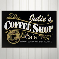 Personalized Coffee Shop Sign, Cafe Sign, Custom Wood Name Sign
