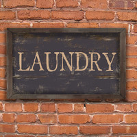 """Handmade Wood Laundry Sign. Approx. 12""""x19"""" 2"""" Wood plaque framed out in wood. Black distressed. Pottery Barn or Restoration Hardware Look."""
