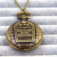 Fashion Jewelry Vintage Charm The Nightmare Before Christmas Pocket Watch Necklace Dia 45mm