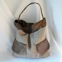 Faux Suede Grey Cowhide tote  Animal Friendly Tote bag  by ACAmour