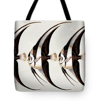 Angel Fish In A Row Wall Art Tote Bag