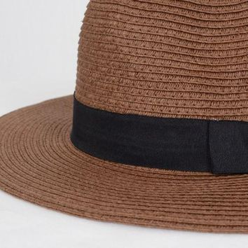 Brown Straw Panama Hat