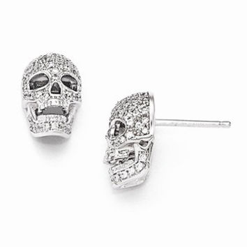 Sterling Silver CZ Polished Skull Post Earrings