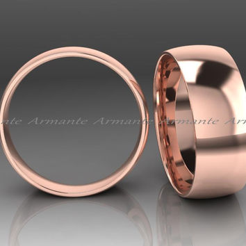 Chunky Wide Mens Wedding Ring Band, 14K Rose Gold