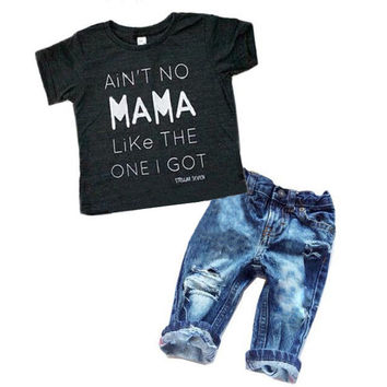T-shirt+ Denim Pants Set