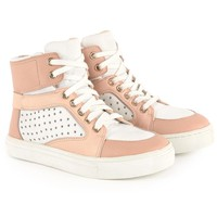 Girls Pink and White High-Top Sneakers (Mini-Me)