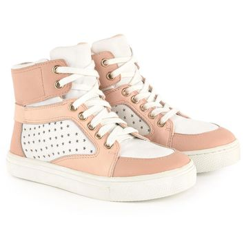 Chloe Girls Pink and White High-Top Sneakers (Mini-Me)