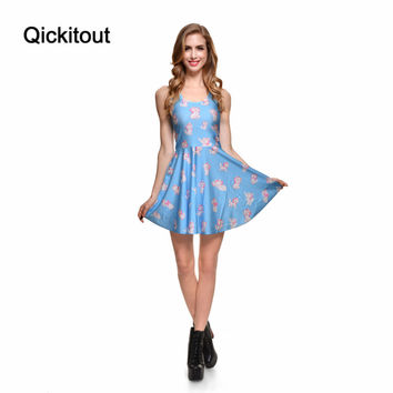 Drop Ship Brand New 2014 Sexy Women Casual Dress Marie Reversible Skater Dress Pleated Print Dresses