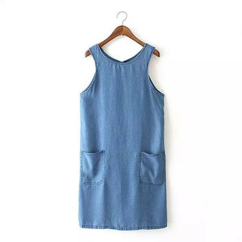 Women denim Straight mini shift Dress Vestidos femininos back hollow out sleeveless shift dresses casual street wear QZ2165