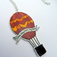 Hot Air Balloon Necklace - Original hand illustrated - orange and red - One day we'll fly away lyrics - shrink plastic pendant