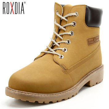 ROXDIA PU Leather Men Boots Spring Autumn And Winter Man Shoes Ankle Boot Men's Snow Shoe Work Flats Plus Size 39-46 RXM560
