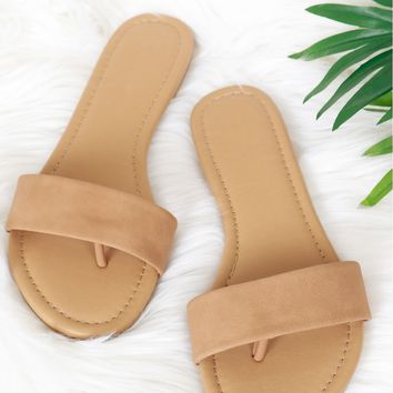 Suede Single Strap Sandal Dark Sand