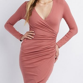 Surplice Bodycon Wrap Dress | Charlotte Russe