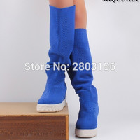 Hot Fashion height increase Women Knee High Boots Flat Heeled Over the Knee Boots Wedges Shoes Botas Mujer