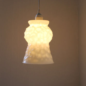 Glacier - Large Textured White Milk Glass Vase Pendant Light - E. O. Brody Co. - One Of A Kind UpCycled BootsnGus Lighting Fixtures