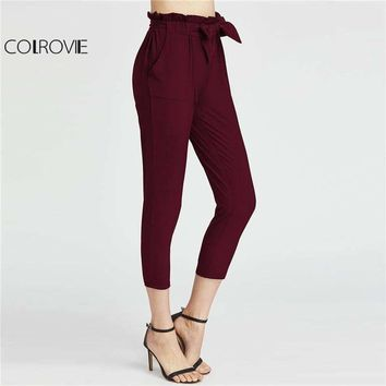 Colrovie High Waist Capri Pants Burgundy Elastic Waist Ruffle Waist Self Tie Bow Carrot Pants Women