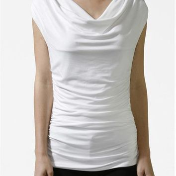 Career Solid Color Ruched Front V Neck Sleeveless Jersey Tunic Shirt Tank Top