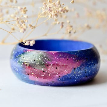 Galaxy Woodburned and Hand-painted bangle - Wooden Space Bracelet - Blue, Green and Red