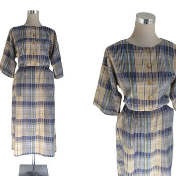 Vintage 1950's Dress - 50's Shirtwaist Shirt Dress - Blue & Ecru Check Day Dress - Everyday Vintage Dress
