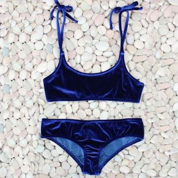 CREYIH3 Pure color velvet vest type shoulder knot two piece bikini blue
