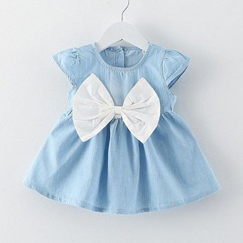 Cute Baby Girl Dress Jeans Children Kids Baby Denim Dresses One Piece Baby Summer Clothing For School Casual Wear Clothes Girl