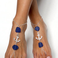 Anchor and Sea Glass Barefoot Sandals Foot Jewelry Barefoot Beach Wedding Foot Chain Anklet