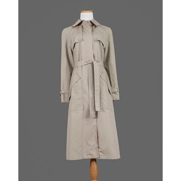 1970s Trench Coat, 70s Raincoat Jacket, Misty Harbor Khaki Beige Dress Jacket with Belt, Full Length Long All Weather Coat