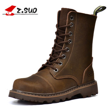 Z. Suo Brand 6818 Classic Women's Motorcycle Boots British Mid-Calf Hand Stitching Crazy Horse Leather Girls Tooling Boots