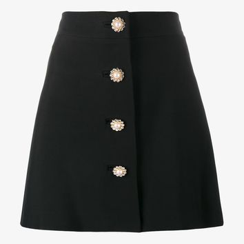 PEARL AND CRYSTAL EMBELLISHED BUTTONED MINI SKIRT