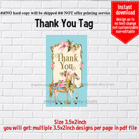Instant Download, Carouse #698 Merry go round, thank you gift, party, Thank you TAG, 3.5x2inch printable  , non-editable NOT CUSTOMIZABLE