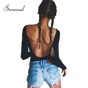 Backless long sleeve bodysuit women bandage fitness slim black jumpsuits bodysuits sexy hot bodycon overalls clothes