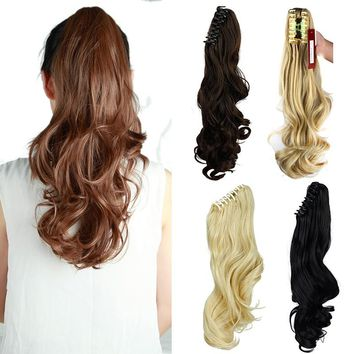 "18"" Womens Jaw Claw Ponytail Mixed Color Pony Tial Hair Extensions Long Wavy Hair Piece"