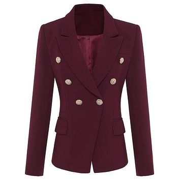 Wine Red Designer Women's Metal Lion Buttons Double Breasted Blazer Jacket