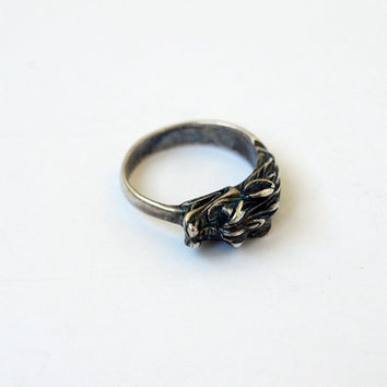 Chinese Dragon Ring Metal Silver plated Brass Casting Size 8,5
