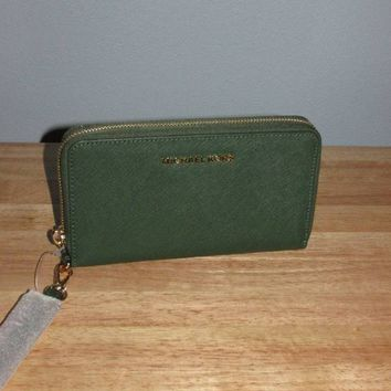 Michael Kors Jet Set Travel Large Flat Multifunction Phone Case Moss Green Gold