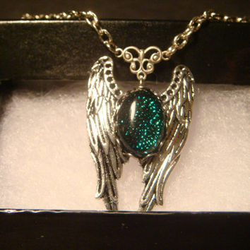 Dichroic Glass Angel Wing Necklace in Antique Silver  (1011)