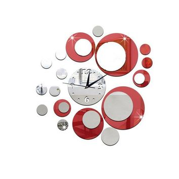 LMFLD1 DIY 3D Acrylic Wall Clock Mirror Stickers for Home Living Room Office Decor (Red)