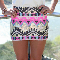 TRIBAL SEQUIN SKIRT , DRESSES, TOPS, BOTTOMS, JACKETS & JUMPERS, ACCESSORIES, SALE, PRE ORDER, NEW ARRIVALS, PLAYSUIT, COLOUR,,SKIRTS,Pink,Sequin Australia, Queensland, Brisbane