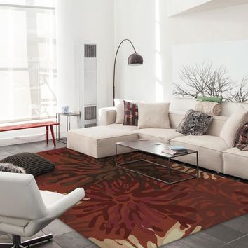Ruggable 2-Piece Washable Rug  - Mum Floral Red
