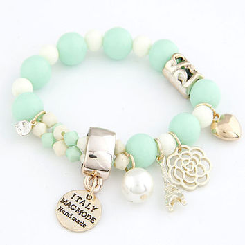 Women's Cute Pastel Colors Pearl Beads Bracelet
