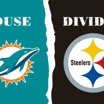 3x5ft Miami Dolphins and Pittsburgh Steelers house davided Flag with metal Grommets