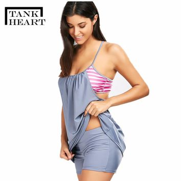 Tank Heart Plus Size Swimsuits Women Swimsuit With Shorts Two Piece Tankini Large Size Skirt Beachwear Patchwork Bathing Suit