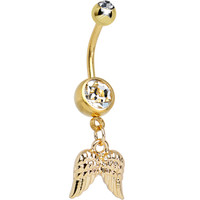 Clear Gem Gleaming Gold Plated Guardian Angel Wings Dangle Belly Ring | Body Candy Body Jewelry