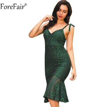 ForeFair Women Backless V-neck Sexy Lace Dress Plus Size Empire Elegant Ruffles Bodycon Dress