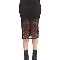 Floral Lace Front Midi Skirt | Wet Seal