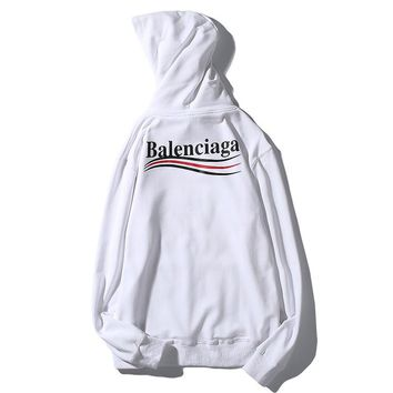 BALENCIAGA Fashion Women Men Casual Letter Print Long Sleeve Hooded Sweater Top Sweatshirt White I-CP-ZDL-YXC