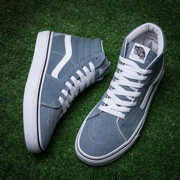 Vans/SK8-Hi Grey blue high casual shoes